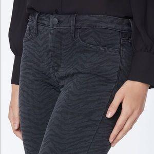 NYDJ Alina Skinny Ankle Black Zebra Print Jeans 10